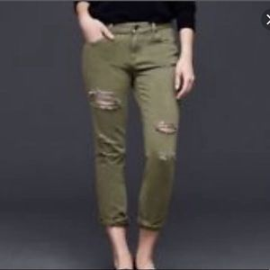 GAP Girlfriend destroyed jeans military green 26